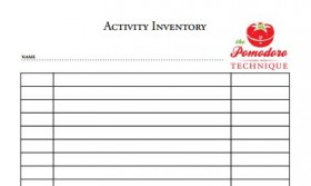 Pomodoro Activity Inventory Sheet